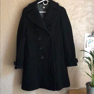 J crew size 6 virgin wool black pea coat 🧥
